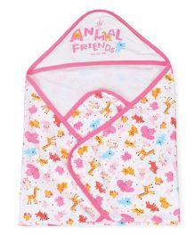 Doreme Hooded Wrapper Animal Print - White Light Pink