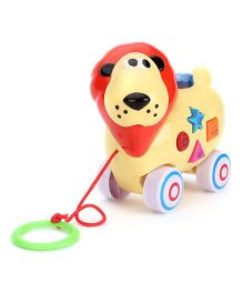 Lion Shaped Pull Along Musical Toy - Light Yellow Red
