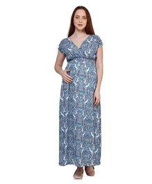 Oxolloxo Short Sleeves Paisley Print Maternity Maxi Dress - Blue