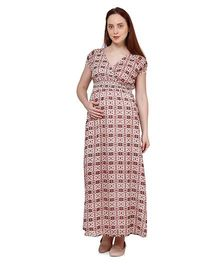 Oxolloxo Short Sleeves Printed Maternity Maxi Dress - Multicolor