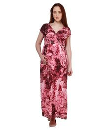 Oxolloxo Short Sleeves Printed Maternity Maxi Dress - Pink