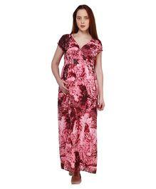 Oxolloxo Short Sleeves Printed Maternity Maxi Dress - Pink