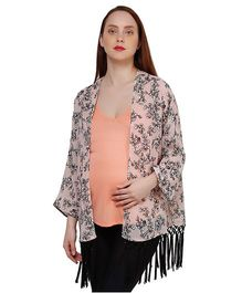 Oxolloxo Full Sleeves Floral Print And Fringes Maternity Shrug - Peach And Black