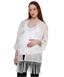 Oxolloxo Full Sleeves Butterfly Print And Fringes Maternity Shrug - Off White