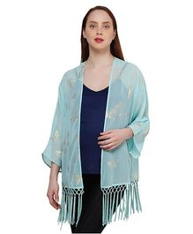 Oxolloxo Full Sleeves Butterfly Print And Fringes Maternity Shrug - Green