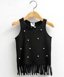 Mauve Collection Cute Tassel And Pearl Top - Black