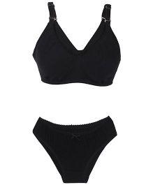 Valentine Solid Color Maternity Bra And Panty Set - Black