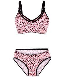 Valentine Maternity Allover Print Bra And Panty Set - Pink And Black