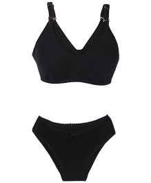 Valentine Solid Color Maternity Bra And Panty Set - Black