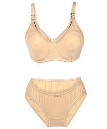 Valentine Solid Color Maternity Bra And Panty Set - Skin Color
