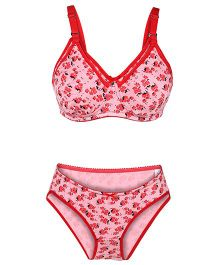 Valentine Maternity Bra And Panty Set Floral Print - Pink And Red