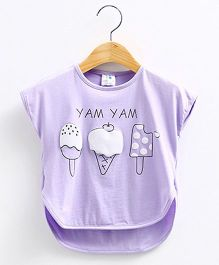 Mauve Collection Cute Icecream Batwing Style Top -  Purple