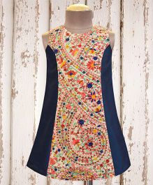 A.T.U.N Princess Royal Embroidered Dress - Navy Blue