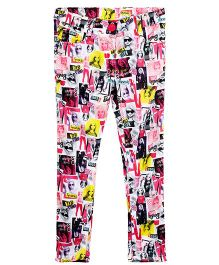 Barbie Full Length Photo Digital Print Jeggings - Mulricolor