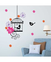 Chipakk Motif Flowers And Bird Cage HD Wall Decal - Pink And Orange