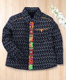 Twisha Traditional Embroidered Shirt With Turnup - Black & Multicolour