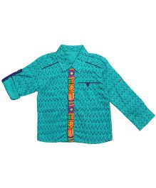 Twisha Traditional Embroidered Shirt With Turnup - Teal Blue