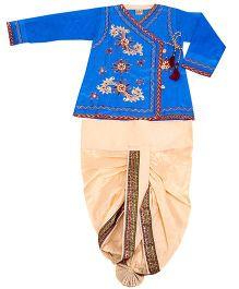 Yashasvi Cotton Full Sleeves Dhoti Kurta Set - Blue and Cream