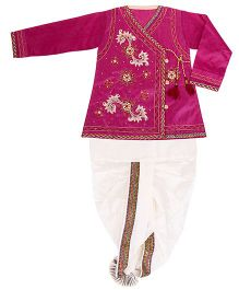 Yashasvi Cotton Full Sleeves Dhoti Kurta Set - Pink and Cream