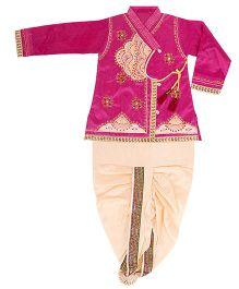 Yashasvi Cotton Full Sleeves Dhoti Kurta Set - Pink and Cream
