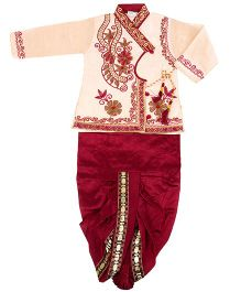 Yashasvi Boy's Dark colored Cotton Ethnic Set Gold 20 9 - 18 Months Cotton