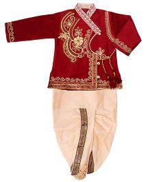 Yashasvi Cotton Full Sleeves Dhoti Kurta Set - Cream and Maroon