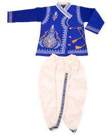 Yashasvi Cotton Full Sleeves Dhoti Kurta Set - Blue and White