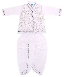 Yashasvi Cotton Full Sleeves Dhoti Kurta Set - White