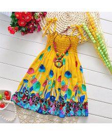 Pikaboo Floral Print Summer Dress - Yellow