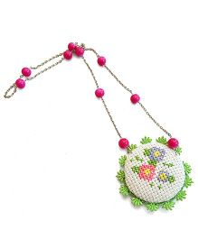 Soulfulsaai Cross Stitch Locket Necklace - Pink