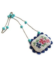 Soulfulsaai Cross Stitch Locket Necklace - Blue