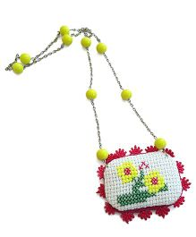 Soulfulsaai Cross Stitch Locket Necklace - Yellow