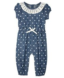 My Lil Berry Puff Sleeves Denim Hearts Print Jumpsuit - Blue & White