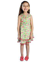 My Lil Berry Sleeveless Floral Print Trim Pompom Dress - Green & Pink