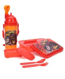 Hot Wheels Lunch Box With Sipper Bottle - Red