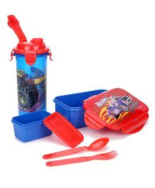 Hot Wheels Lunch Box With Sipper Bottle - Blue