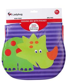 Ladybug Feeding Bib Animal Design - Purple