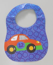 Ladybug Feeding Bib With Pocket Car Design - Blue