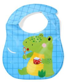 Ladybug Feeding Bib With Pocket Frog Design - Sky Blue