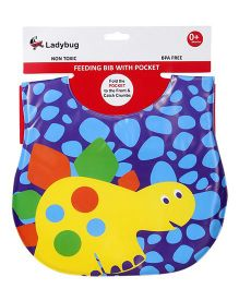 Ladybug Feeding Bib Turtle Design - Blue Purple