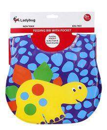Ladybug Feeding Bib Turtle Design - Blue Purple