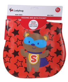 Labybug Bib Teddy Print - Red
