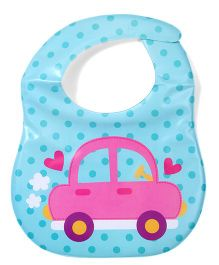 Ladybug Feeding Bib With Pocket Car & Heart Design - Aqua Blue