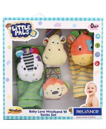 Winfun Little Pals Wrist Band And Socks Set Rattle Multicolor - Pack Of 4