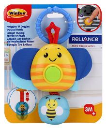 Winfun Wriggles And Giggles Bee Shape Musical Rattle - Yellow