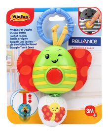 Winfun Wriggles And Giggles Butterfly Shape Musical Rattle - Green