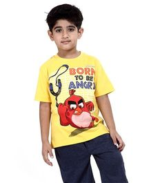 Angry Birds Printed Half Sleeves Cotton T-Shirt - Yellow