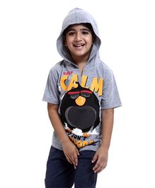 Angry Birds Printed Half Sleeves Hooded T-Shirt - Grey