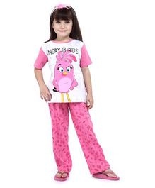 Angry Birds Half Sleeves Top With Pajama Set - Pink And White
