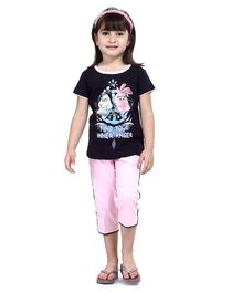 Angry Birds Half Sleeves  Printed Top With Capri - Navy Blue And Pink